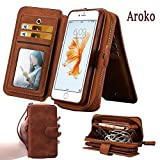 iPhone5/5S / iPhone SE Case,Aroko Premium Zipper Wallet Leather Detachable Magnetic i5s Case Purse Clutch with Black Flip Credit Card Holder Cover for iPhone 5/5S iPhone SE (iphone5/5S/Se , Brown)