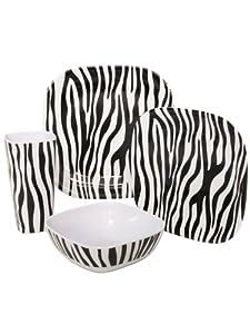 Zebra 4-piece Melanine Square Dinnerware Set. 4-piece Set 10.5 Dinner Plate, 8.5... by EW001
