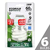 Feit BPESL13T/GU24 60W Equivalent CFL Twist GU24 Base Bulb (Pack of 6), Soft White
