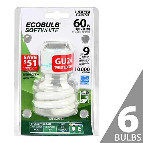 Feit BPESL13T/GU24 60W Equivalent CFL Twist GU24 Base Bulb (Pack of 6), Soft White (Gu24 Bulb compare prices)