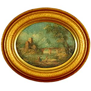 Antique Italian Oval Oil Painting, Hand-aged Victorian Miniature Reproduction Artwork