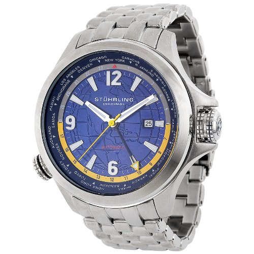 8e35da162e7 #1: Stuhrling Original Men's 285.331136 Now Voyager Automatic World Time  Blue Dial Watch (Buy Best)