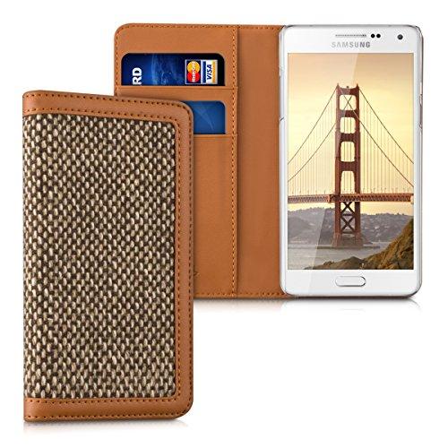 kalibri-Wallet-Case-Hlle-Donna-fr-Samsung-Galaxy-A5-2015-Cover-Flip-Tweed-Kunstleder-Tasche-mit-Kartenfach-in-Braun