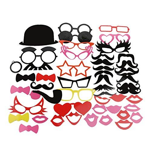 Tinksky Foto stand puntelli 50 piece Kit fai da te per matrimonio festa riunioni compleanni Photobooth Dress-up accessori partito favori, costumi con i baffi su un bastone, Cappelli, occhiali, bocca, Bowler, Bowties