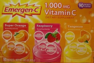Emergen-c Vitamin C 1000mg 90 Packets 3 Cartons NET Wt 28.9oz 819g