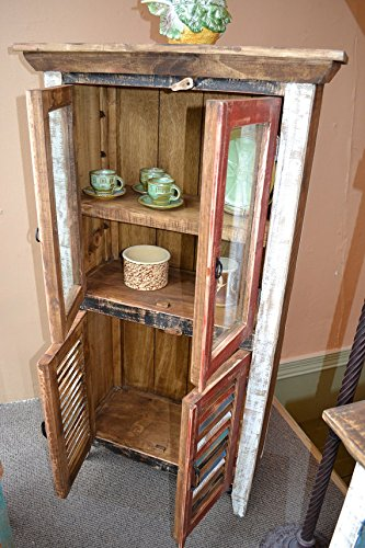 Crafters and Weavers Rustic Distressed Reclaimed Wood Curio, Glass Cabinet /Bookcase /Hutch 3