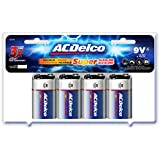 Acdelco 9 Volt Alkaline Batteries In Reclosable Storage Box, 4 Count
