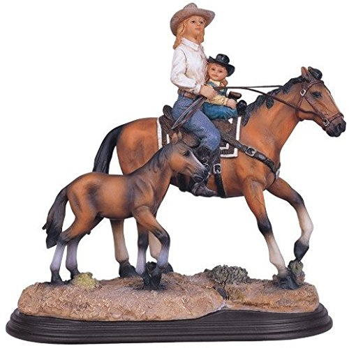StealStreet SS-G-11344, Mother & Daughter on Horse Collectible Western Rodeo Figurine Statue