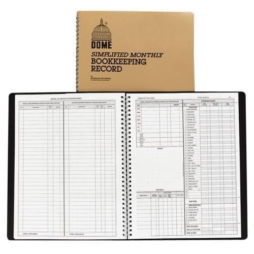 612 Dome Monthly Bookkeeping Record – 128 Sheet(s) – Wire Bound – 11.25″ x 8.75″ Sheet Size – White – 1 Each