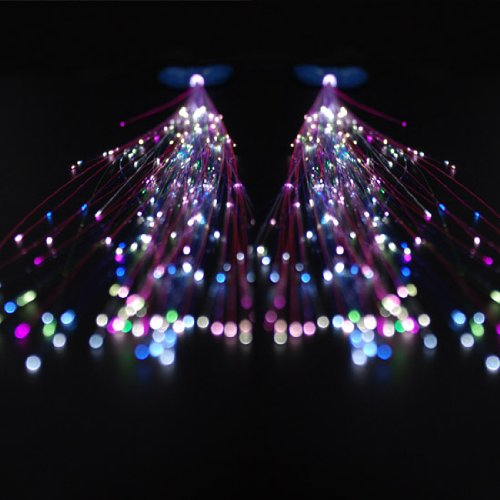 1 Pair Flexible Fiberoptic Sparkling LED Light up Extensions Hair Butterfly Clip In Barrette 14""