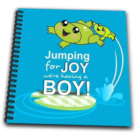Db_120313_1 Inspirationzstore Occasions - Jumping For Joy Having A Boy - Cute Green Frog Blue Baby Shower Its A Boy Kawaii Frogs Announcement - Drawing Book - Drawing Book 8 X 8 Inch front-236789