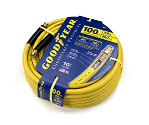 Goodyear EP 46546 3/8-Inch by 100-Feet 300 PSI Rubber Air Hose with 1/4-Inch MNPT Ends and Bend Restrictors