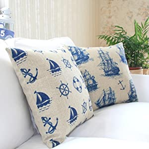 """Yamimi Mediterranean sailor Linen Cloth Pillow Cover Cushion Case 18"""",Q479 by Yamimi"""