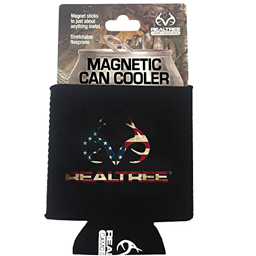 Realtree Camo Graphics Brand Logo Sports Drink Beer Water Soda Beverage Can Insulated Picnic Outdoor Party Beach BBQ Kooler Can Cooler - 12oz Magnetic American Flag Black Cover (Magnetic Can Koozie compare prices)