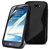 Samsung Galaxy Note 2 N7100 Black Premium Stylish Design S Line Wave Gel Case Skin Cover With LCD Screen Protector Guard, Polishing Cloth by ONX3