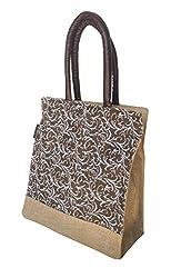 Foonty tote women brown medium jute lunch bag (FJUWB6317)
