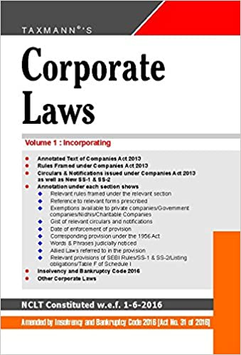 Corporate Laws (Paperback Pocket Edition) (Set of 2 Volumes) (34th Edition, June 2016)