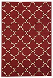 Anti-Bacterial Rubber Back AREA RUGS Non-Skid/Slip 5x7 Floor Rug | Red Moroccan Trellis Indoor/Outdoor Thin Low Profile Living Room Kitchen Hallways Home Decorative Traditional Area Rug