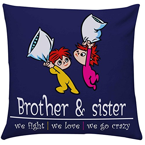 Giftsbymeeta Crazy Brother Sister Cushion RAKHIGIFTS8501 With Filler12x12 InchesGift For