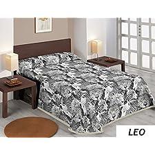 SABANALIA - Colcha estampada Leo (Disponible en varios tamaños) - Cama 105, Gris