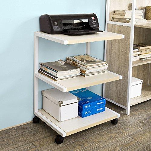 SoBuy-Drucker-Rolltisch-mit-3-AblagefchernDruckerstnder-Beistelltisch-Kchenwagen-Rollwagen-Beistellwagen-FRG81-W