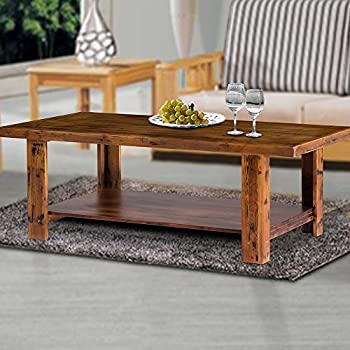 """Olee Sleep 46"""" Soild Wood Coffee Table/End Table/Side Table/Dining Table/Sofa Table/TV Table/Vanity Table/Office Table/Computer Table, Stylish Natural Brown"""