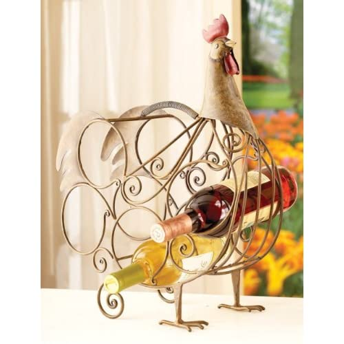 Amazon com rooster design scrollwork metal wine rack