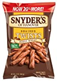 Snyders of Hanover Pretzels Twists, Honey Wheat Braided Pretzel, 12 Ounce (Pack of 12)