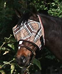 Kensington KPP Fly Mask with Web Trim, Deluxe Black Plaid, XX-Large