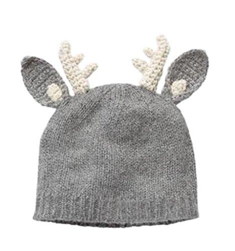 (ビグッド)Bigood 可愛い 毛糸 ニット帽 赤ちゃん ベビー帽子 男の子 クリスマス 出産祝い キッズ 女の子 秋冬 子供 ニットキャップ 耳付き しか レッド