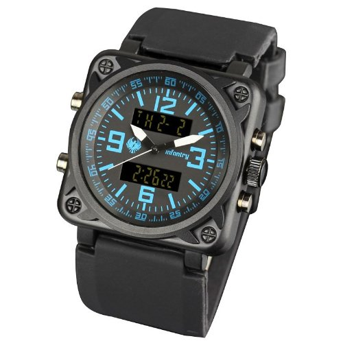 INFANTRY Mens Digital and Analogue Display Wrist Watch Blue Alarm Sport Black Rubber Strap #IN-023-BLU-R
