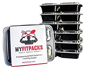 MyFitPacks 7 Count Healthy Lunch Box Meal Prep Containers, 3 Compartment, Microwaveable, Reusable, Leakproof, No BPA, Bento Box, Portion Control