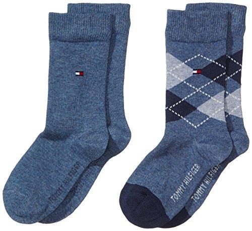 Tommy Hilfiger - Th Kids Original Argyle Sock 2P, Calzini per bambini e ragazzi, blu(blau (jeans 356)), taglia produttore: 39-42