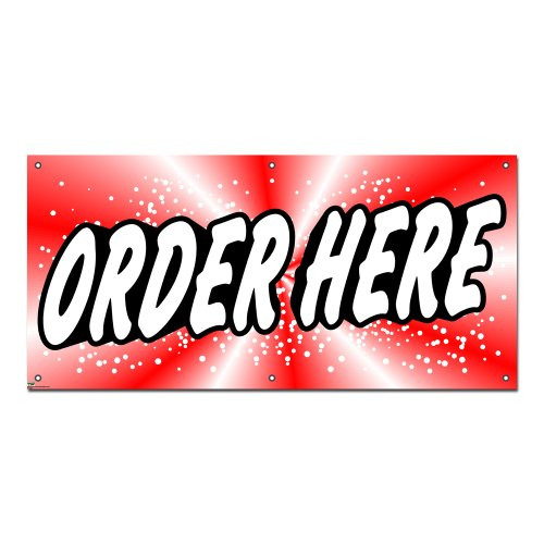 Order Here Red - Restaurant Cafe Coffee Shop Business Sign 4'x2' Banner (Restaurant Order Sign compare prices)