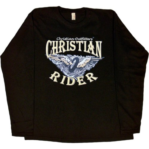 WOMENS LONG-SLEEVE T-SHIRT : NAVY - SMALL - Christian Outfitters - Christian Rider - Biker Inspirational