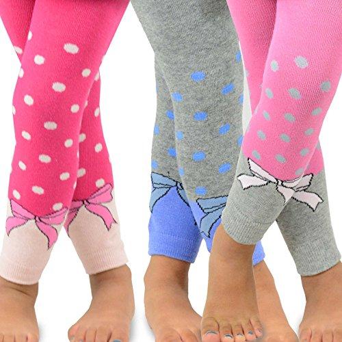 Naartjie Kids Girls Cotton Legging - Dots & Bows, Assort, 3-5 Years (Leggings Kids)