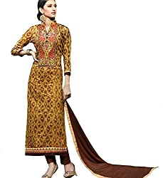 Brown and multicolored glace cotton printed material with embroidery for elegant office wear