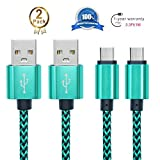 Android Charging Cable,Hankuke [2-Pack] Multi length and color Sturdy Nylon Fabric Braided High Speed Data Sync USB to Micro USB Cable (1m green)