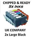 5x CHIPPED COMPATIBLE HP 364XL FULL SET INK CARTRIDGE HP364. DESKJET 3070a, 3520 OFFICEJET 4610, 4620, 4622 PHOTOSMART: B8550, B8553, B8558, C5324, C5370, C5373, C5380, C5383, C5388, C5390, C5393, C6300, C6324, C6340, C6350, C6380, C6383, D5445, D5460, D5463, D5468, D7560, B109, B110a, B111, B209, B210, B211, C309, C310, C410 5510e, 5515e, 5520, 5524, 6510, 6520, 7510, 7520 ALL IN ONE, PLUS OTHERS. CONTAIN 2X BLACK 24ml, 1X CYAN MAGENTA & YELLOW 15ml EACH