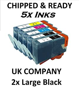 5x CHIPPED COMPATIBLE HP 364XL FULL SET INK CARTRIDGE HP364. DESKJET 3070a, 3520 OFFICEJET 4610, 4620, 4622 PHOTOSMART: B8550, B8553, B8558, C5324, C5370, C5373, C5380, C5383, C5388, C5390, C5393, C6300, C6324, C6340, C6350, C6380, C6383, D5445, D5460, D5463, D5468, D7560, B109, B110a, B111, B209, B210, B211, C309, C310, C410 5510e, 5515e, 5520, 5524, 6510, 6520, 7510, 7520 ALL IN ONE, PLUS OTHERS. CONTAIN 2X BLACK 24ml, 1X CYAN MAGENTA & YELLOW 15ml EACH