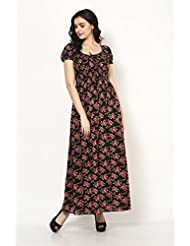 Black Cotton Maxi Dress With With Floral Print