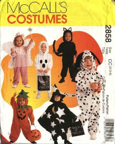 Mccall'S Sewing Pattern 2858 Or 8898 Boys Girls Size 1/2-1-2 Halloween Costumes Fairy Pumpkin Cat Dog Ghost front-947783