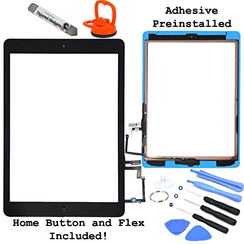Black Touch Screen Glass Digitizer Assembly With Spare Parts (Home Button, Flex Cable, Camera Bracket, Adhesive) For Ipad Air 5Th Generation