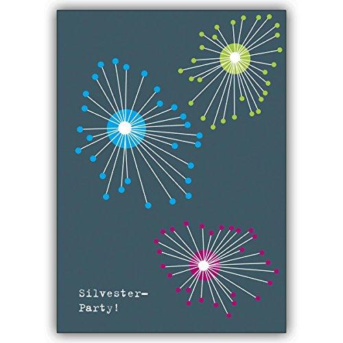 4 Silvesterkarten (4er Set): Verschicken Sie ein grafisches Feuerwerk und laden Sie zur Silvester Party