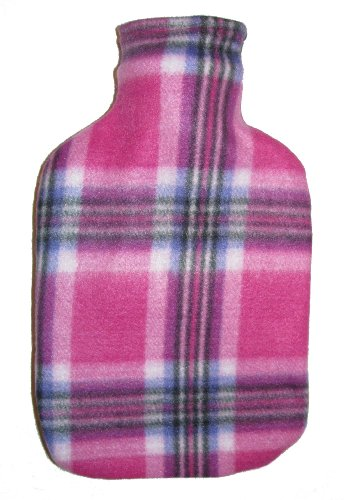 Warm Tradition Purple Pink Plaid Fleece Covered Hot Water Bottle - Bottle Made In Germany, Cover Made In Usa
