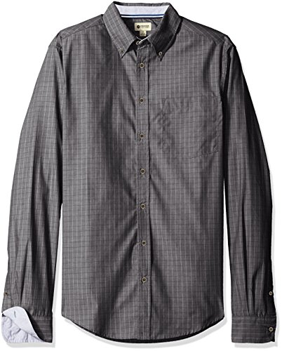 Haggar Men's Big and Tall Long Sleeve Mini-Windowpane Woven Shirt, Black, 3X-Large Tall (Big And Tall Shirts compare prices)