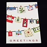 16 Handmade Christmas Greeting Cards with Envelopes, Clothesline Christmas Cards
