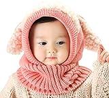 Winter Baby Kids Girls Boys Warm Hood Scarf Caps Hats Apricot One Size