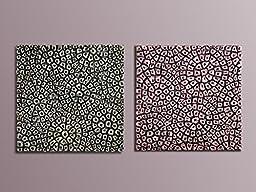 Set of 2 Wall Sculptures - Textured paintings - 3D Wall Decor - Metallic Wall Panels