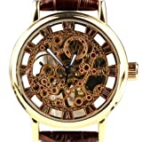 Orkina Mens Golden Case Hollow Skeleton Mechanical Dial Leather Strap Wrist Watch